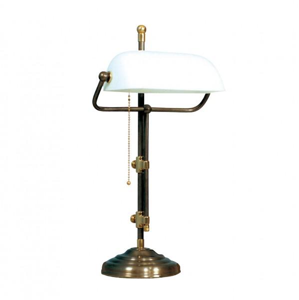 Bankers Lamp / Bankerlampe / Schreibtischleuchte, Landhaus Stil, Messing antik-handpatiniert (Altmessing), weißes Glas, Höhe 50 cm, 230 V, E27 60 W